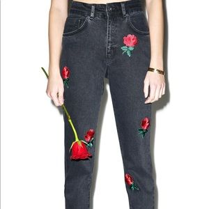 The Ragged Priest rose embroidered mom jeans